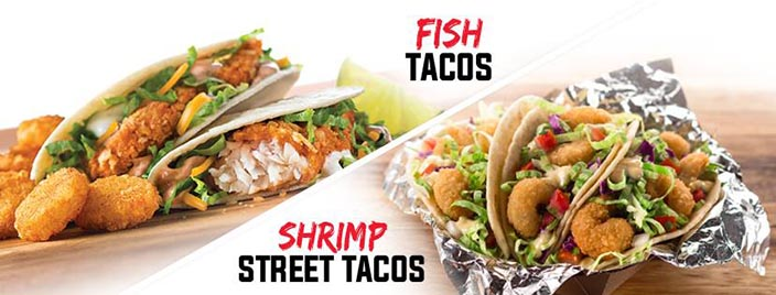 On a diagonally split photo, two Fish Tacos are flanked by a wedge of lime and some Potato Olés® on the left, while an open foil packet of Shrimp Street Tacos is pictured on the right.