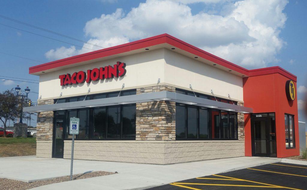 The exterior of a new Taco John's building